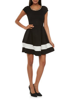 Textural A-Line Dress with Box Pleated Skirt and Curb Chain Accent - 3410065622781