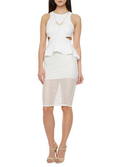 Textural Peplum Dress with Shadow Stripe Skirt - 3410065622823