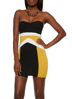 Strapless Mini Dress with Color Block Print and Beaded Necklace - 3410065622839