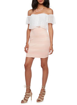 Off-The Shoulder Dress with Lace Bodice - 3410065622882