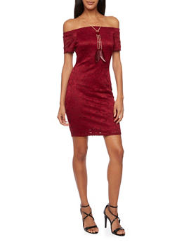 Off the Shoulder Lace Dress with Necklace - BURGUNDY - 3410065622920