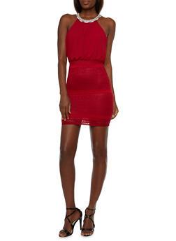 Embellished Halter Blouson Dress - 3410065622965