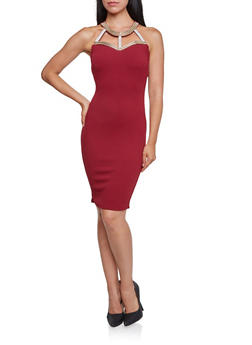 Bodycon Dress with Embellished Cutout Neckline - 3410065623022