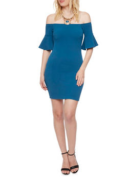 Off the Shoulder Dress with Bell Sleeves and Necklace - 3410065623028