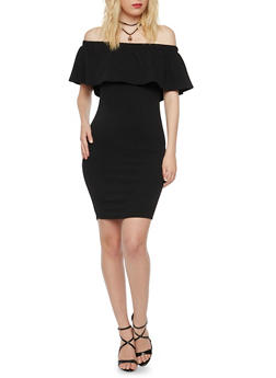 Off the Shoulder Dress with Layered Necklace - BLACK - 3410065623048