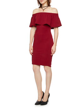 Off the Shoulder Dress with Layered Necklace - BURGUNDY - 3410065623048
