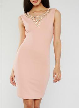 Sleeveless Rhinestone Studded Collar Dress - 3410065623186