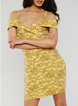 Off the Shoulder Floral Lurex Bodycon Dress - 3410065623234