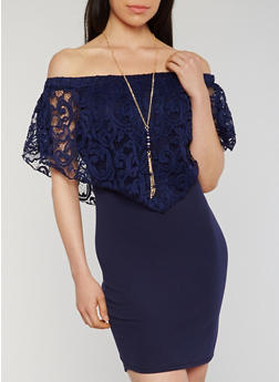 Off the Shoulder Bodycon Dress with Lace Overlay and Necklace - 3410065623235