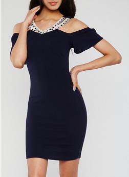 Jewel Trimmed Cold Shoulder Bodycon Dress - 3410065625003
