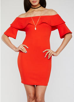 Off the Shoulder Bell Sleeve Dress with Necklace - 3410065625004