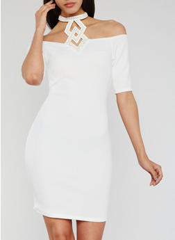 Off the Shoulder Dress with Studded Halter Tie - IVORY - 3410065625015