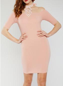 Off the Shoulder Dress with Studded Halter Tie - 3410065625015