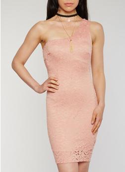 One Shoulder Lace Sheath Dress with Choker - BLUSH - 3410065625021