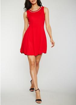 Pleated Jewel Neck Skater Dress - 3410065625081