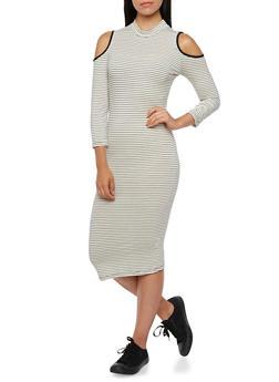 Cold Shoulder Dress with Mock Neck - 3410066490415