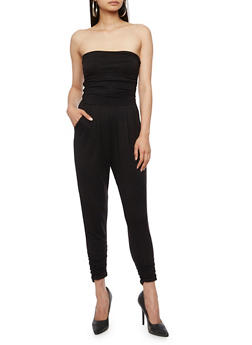 Strapless Ruched Jumpsuit - BLACK - 3410066490435