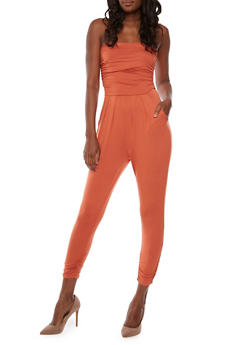 Strapless Ruched Jumpsuit - CINNAMON - 3410066490435