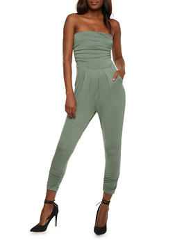 Strapless Ruched Jumpsuit - SAGE - 3410066490435