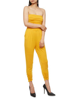 Strapless Ruched Jumpsuit - MUSTARD - 3410066490435