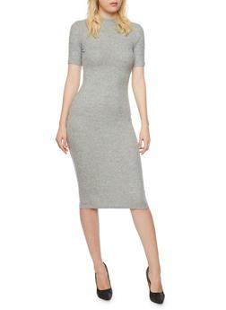 Mid Length Rib Knit T Shirt Dress - 3410066490620