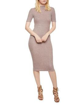 Ribbed Midi Dress with Mock Neck - MAUVE - 3410066490620
