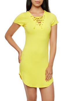 Lace-Up T-Shirt Dress - 3410066490746
