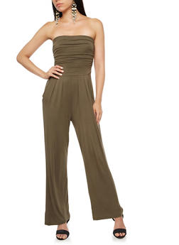 Strapless Cropped Wide Leg Jumpsuit - OLIVE - 3410066491643