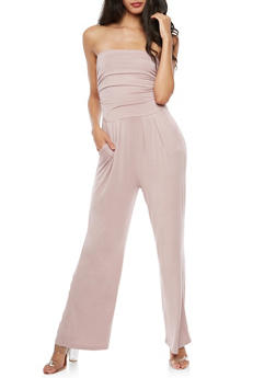 Strapless Cropped Wide Leg Jumpsuit - 3410066491643