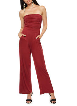 Strapless Cropped Wide Leg Jumpsuit - BURGUNDY - 3410066491643