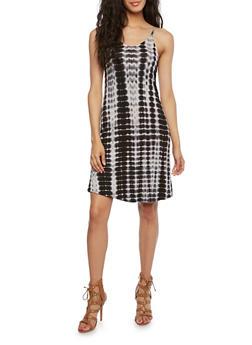 Tie-Dye Mini Dress with Sweetheart Neckline - 3410066491669