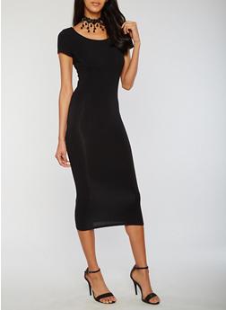 Short Sleeve Bodycon T Shirt Dress - BLACK - 3410066491791