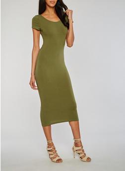 Short Sleeve Bodycon T Shirt Dress - OLIVE - 3410066491791