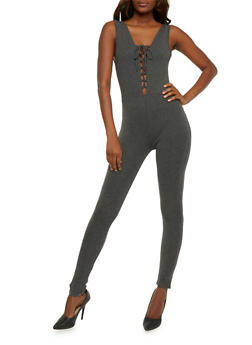 Sleeveless Lace Up Catsuit - CHARCOAL - 3410066491801