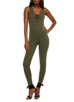 Sleeveless Lace Up Catsuit - OLIVE - 3410066491801
