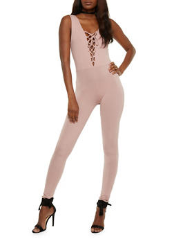 Sleeveless Lace Up Catsuit - MAUVE - 3410066491801