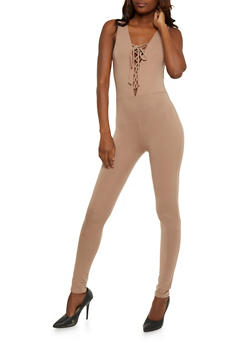 Sleeveless Lace Up Catsuit - TAUPE - 3410066491801