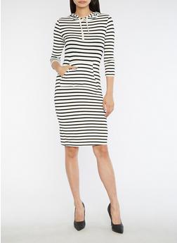 Long Sleeve Hooded Striped Dress - 3410066491875