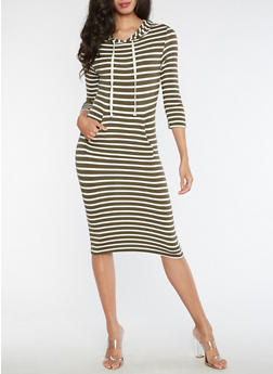 Long Sleeve Hooded Striped Dress - 3410066491875