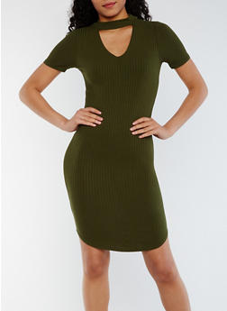 Rib Knit Keyhole Choker Dress - OLIVE - 3410066491894