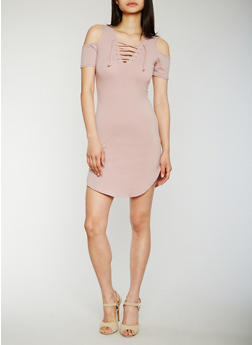 Lace Up Cold Shoulder Shirttail Dress - MAUVE - 3410066491951