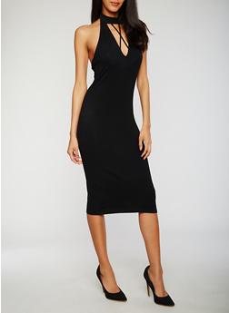 Caged Halter Midi Dress - BLACK - 3410066491962