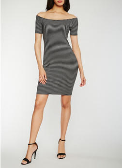 Off the Shoulder Striped Bodycon Dress - 3410066491973