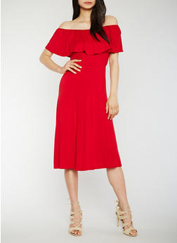 Off the Shoulder Midi Dress with Ruffle Overlay - 3410066491978