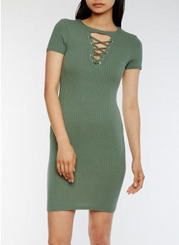 Lace Up Rib Knit T Shirt Dress - SAGE - 3410066491983