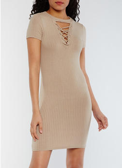 Lace Up Rib Knit T Shirt Dress - 3410066491983