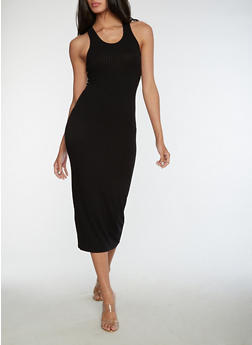 Racerback Ribbed Knit Dress - BLACK - 3410066491984