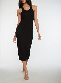 Racerback Ribbed Knit Dress - 3410066491984