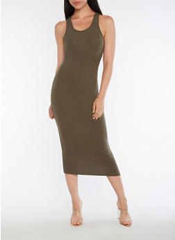 Racerback Ribbed Knit Dress - OLIVE - 3410066491984