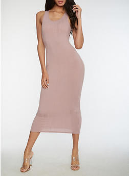 Racerback Ribbed Knit Dress - MAUVE - 3410066491984